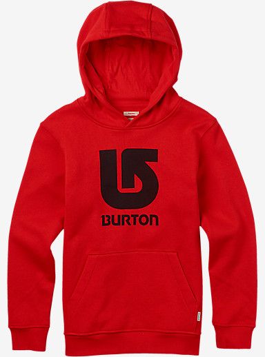 Burton Boys' Logo Vertical Pullover Hoodie shown in Fiery Red
