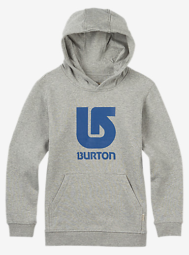 Burton Logo Vertical Pullover Hoodie shown in Gray Heather