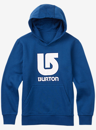 Burton Logo Vertical Pullover Hoodie shown in True Blue