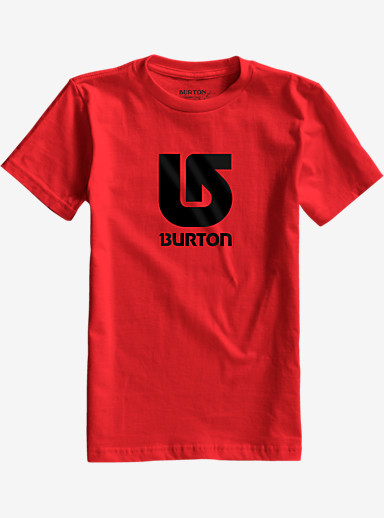 Burton Boys' Logo Vertical Short Sleeve T Shirt shown in Red