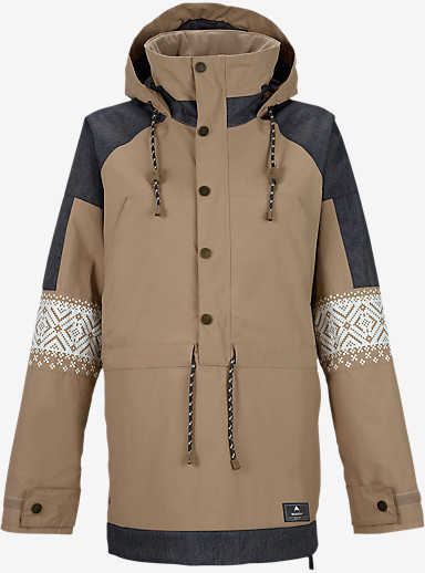 Burton Cinder Anorak Jacket shown in Sandstruck / Denim / Fair Isle