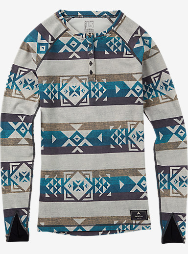 Burton Women's Expedition Wool Henley shown in Stout White Banded Geo