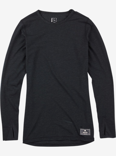 Burton Women's Base Layer Midweight Wool Crew shown in True Black Heather