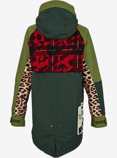 L.A.M.B. x Burton Riff Parka shown in Army Green / Photo Cheetah / Weeds / Plaid Ikat