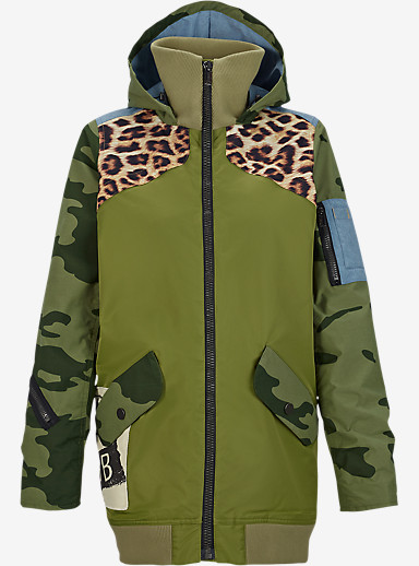 L.A.M.B. x Burton Misfit Bomber Jacket shown in Weeds / Camo / Photo Cheetah / Chambray