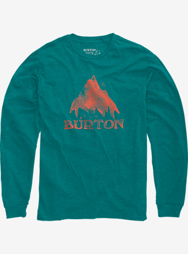 Burton Stamped Mountain Long Sleeve T Shirt shown in Teal Heather