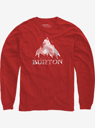 Burton Stamped Mountain Long Sleeve T Shirt shown in Fiery Red Heather