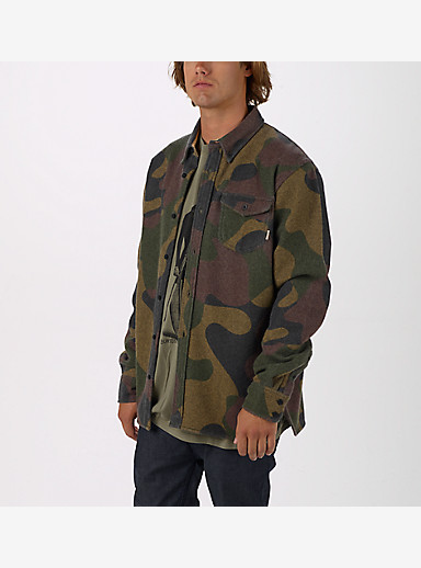 Burton Farrel Wool Long Sleeve Woven shown in Mountain Camo