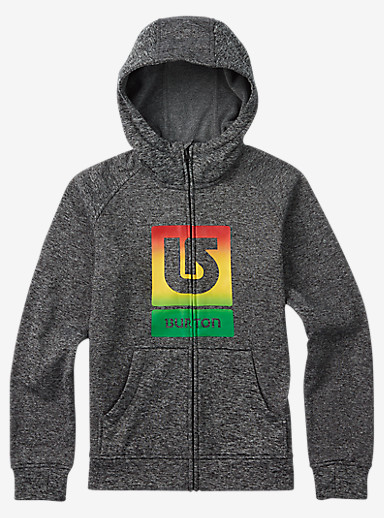 Burton Boys' Oak Bonded Full-Zip Hoodie shown in True Black Heather