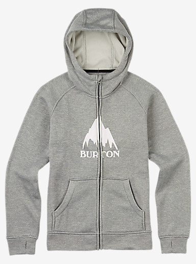 Burton Boys' Oak Bonded Full-Zip Hoodie shown in Monument Heather