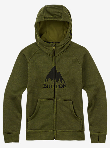 Burton Boys' Oak Full-Zip Hoodie shown in Olive Branch Heather