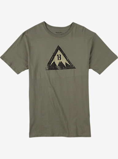 Burton Retro Logo Slim Fit Short Sleeve T Shirt shown in Light Olive