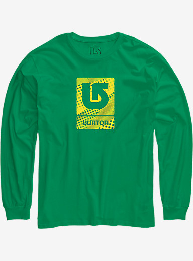 Burton Logo Vertical Fill Long Sleeve T Shirt shown in Kelly Green