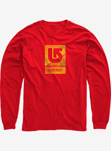 Burton Logo Vertical Fill Long Sleeve T Shirt shown in Fiery Red