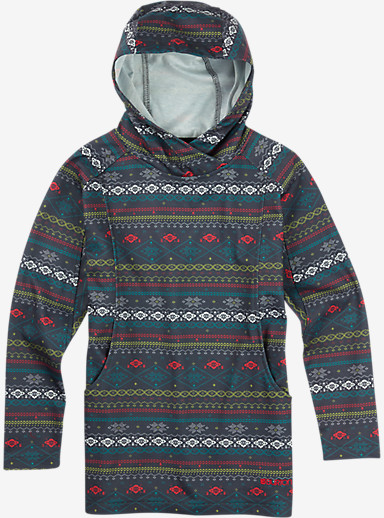Burton Girls' Dialog Pullover Hoodie shown in Dark Ash Ditsy Fairisle