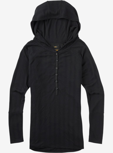 Burton Avocet Hooded Henley shown in True Black