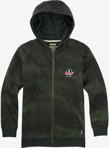 Burton Boys' Hondo Full-Zip Hoodie shown in Oil Camo