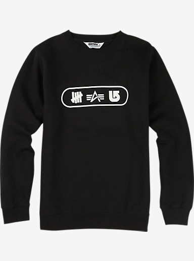 UNDEFEATED x Alpha Industries x Burton Tri Logo Crew shown in Black