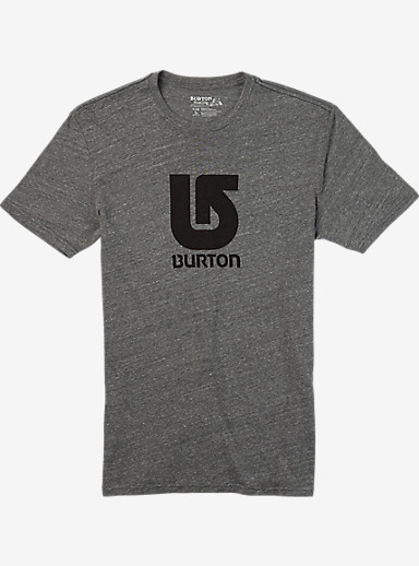 Burton Logo Vertical Slim Fit Short Sleeve T Shirt shown in Gray Heather