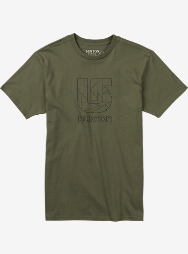 Burton Logo Vertical Slim Fit Short Sleeve T Shirt shown in Light Olive