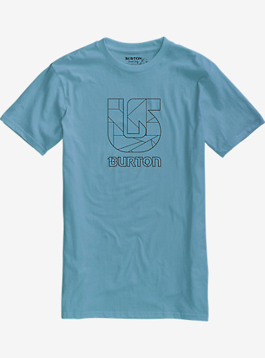 Burton Logo Vertical Slim Fit Short Sleeve T Shirt shown in Washed Blue
