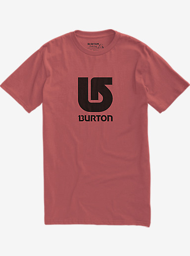 Burton Logo Vertical Slim Fit Short Sleeve T Shirt shown in Dusty Cedar