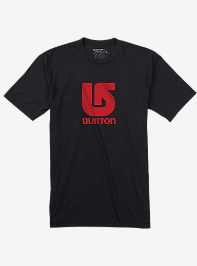 Burton Logo Vertical Slim Fit Short Sleeve T Shirt shown in True Black Heather