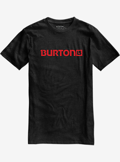 Burton Logo Horizontal Recycled Short Sleeve T Shirt shown in True Black Heather