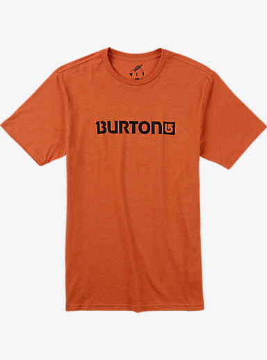 Burton Logo Horizontal Recycled Short Sleeve T Shirt shown in Apricot Heather