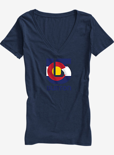 Burton Colorado Flag Process V-Neck T Shirt shown in Vintage Navy