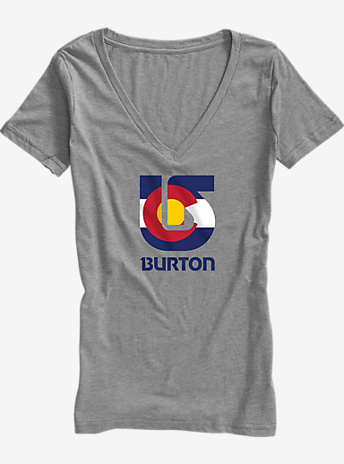 Burton Colorado Flag Process V-Neck T Shirt shown in Premium Heather