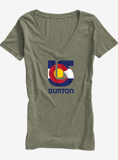 Burton Colorado Flag Process V-Neck T Shirt shown in Military Green