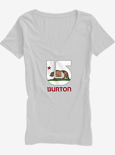 Burton California Flag V-Neck T Shirt shown in White Heather