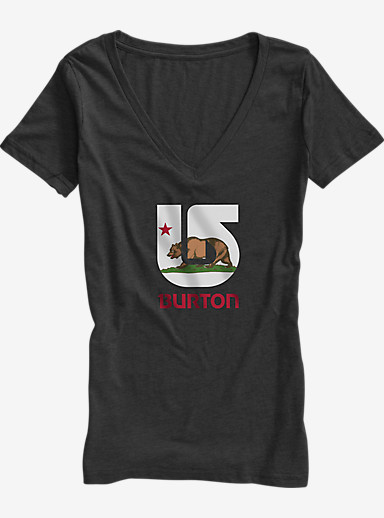 Burton California Flag V-Neck T Shirt shown in Vintage Black