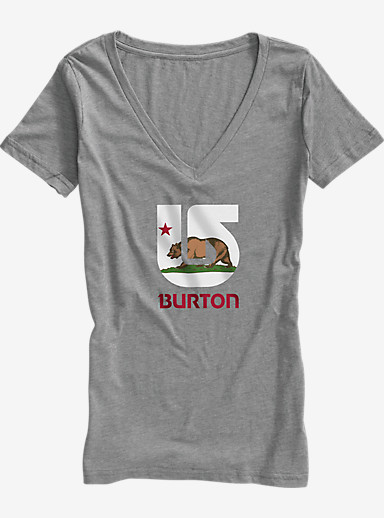 Burton California Flag V-Neck T Shirt shown in Premium Heather