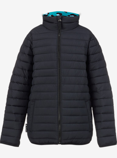 Burton Kids' Reversible Flex Puffy Jacket shown in True Black / Everglade Super Leopard