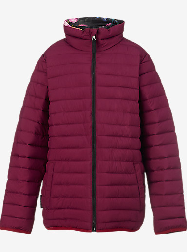 Burton Kids' Reversible Flex Puffy Jacket shown in Sangria / Highland Floral