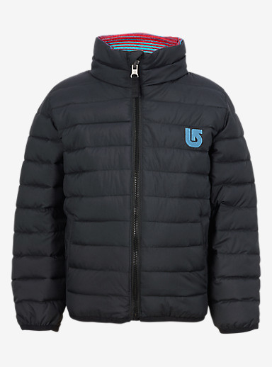 Burton Minishred Reversible Flex Puffy Jacket shown in True Black / Seaside Stripe