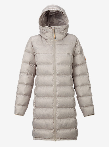 Burton Evergreen Hooded Long Down Insulator shown in Dove Heather
