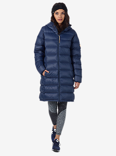 Burton Evergreen Hooded Long Down Insulator shown in Mood Indigo