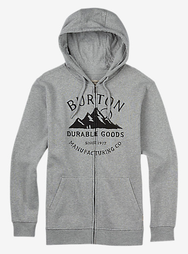 Burton Overlook Full-Zip Hoodie shown in Gray Heather