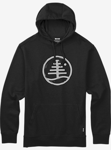 Burton Woodblock Family Tree Recycled Pullover Hoodie shown in True Black Heather