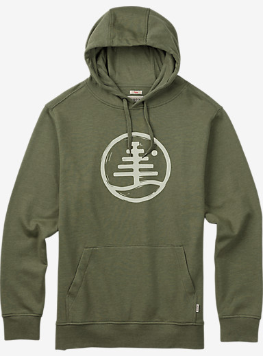 Burton Woodblock Family Tree Recycled Pullover Hoodie shown in Olive Branch Heather