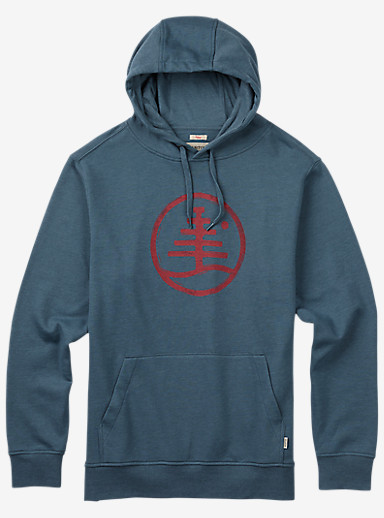 Burton Woodblock Family Tree Recycled Pullover Hoodie shown in Blue Mirage Heather