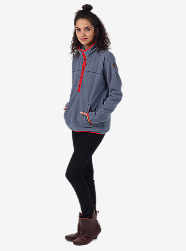 Burton Anouk Fleece Anorak shown in Mood Indigo Heather