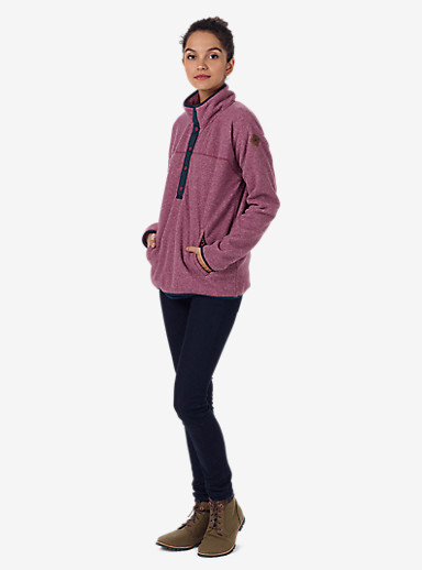 Burton Anouk Fleece Anorak shown in Sangria Heather