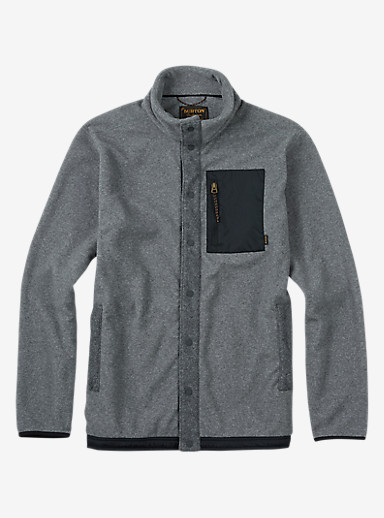 Burton Hearth Snap-Up Fleece shown in Dark Ash Heather