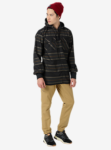 Analog Integrate Hooded Flannel shown in True Black