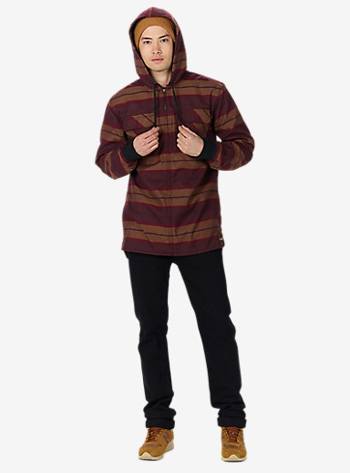 Analog Integrate Hooded Flannel shown in Deep Purple