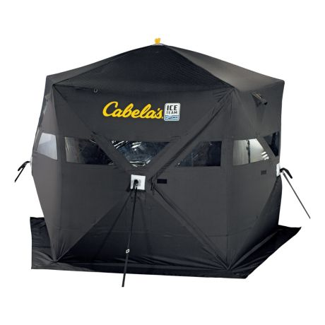 Cabela 39 s ice team five sided 360 full thermal ice shelter for Ice fishing sale